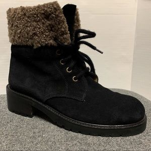 J Crew Suede Black Faux Shearling Lace Up Boot 6.5